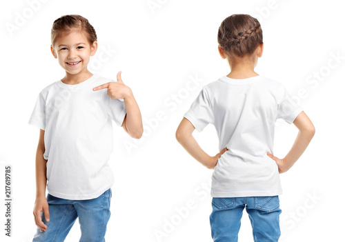 Front and back views of little girl in blank t-shirt on white background. Mockup for design