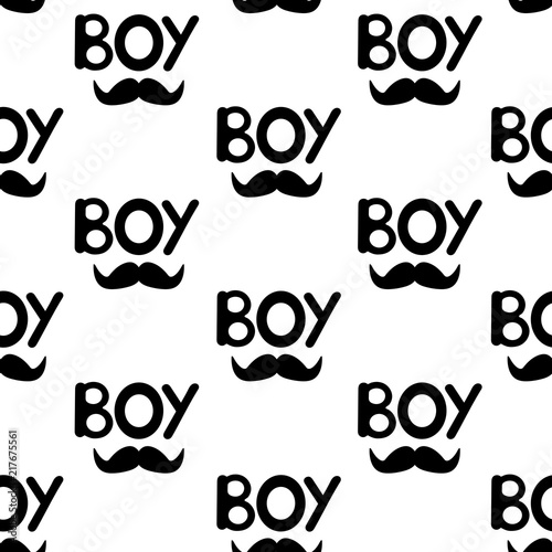 Fototapeta Bezszwowy wzór z czarnymi słowami chłopiec i wąsy