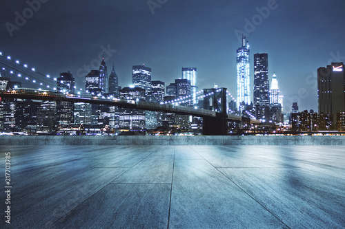Obraz na plátně Rooftop with night city background
