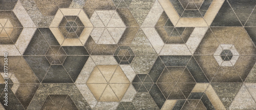 Fotografie, Obraz ceramic tile, abstract mosaic ornamental geometric pattern