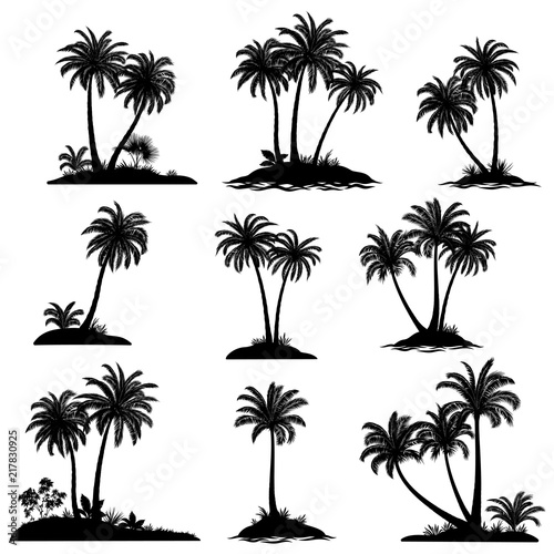 Set Exotic Landscapes, Sea Islands with Palm Trees, Tropical Plants and Grass Black Silhouettes Isolated on White Background. Vector Wall mural