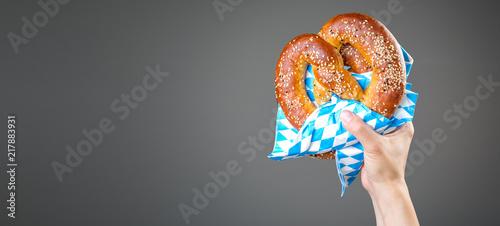 Obraz na plátně Oktoberfest concept - hands holding beer and pretzel