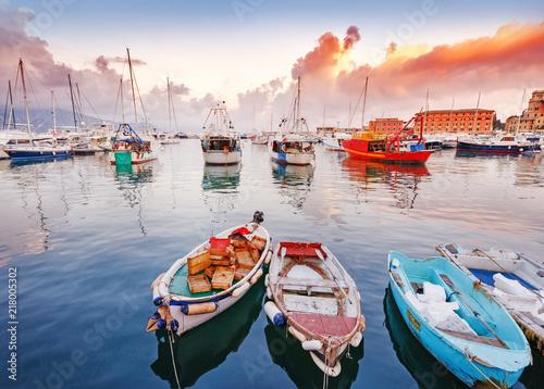 Fotografie, Obraz Spactacular sunset landscape of Santa Margherita Ligure-Portofino, Italy