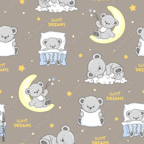 Cute sleeping Teddy Bears seamless pattern. Poster Mural XXL