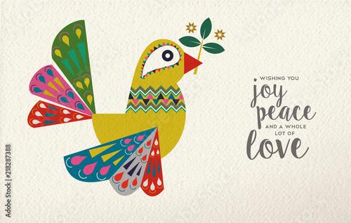 Fototapeta Christmas and New Year dove bird folk art card