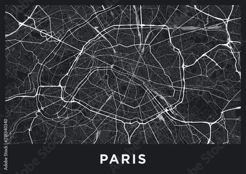 Mapa ciemnego Paryża. Mapa drogowa Paryża (Francja). Czarno-biała (ciemna) ilustracja paryskich ulic. Format plakatu do druku (album).