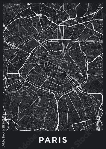Obraz na płótnie Dark Paris city map