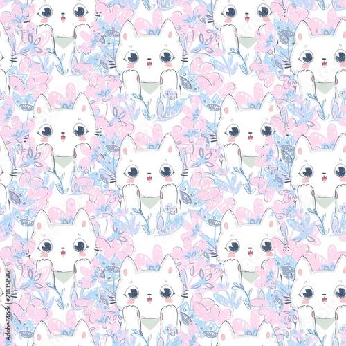 Hand Drawn cute cats pattern seamless background