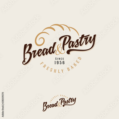 The bakery logo. Bread and baking emblem. Vintage bakery logo. Gold pie crust and brown inscription on a light background.