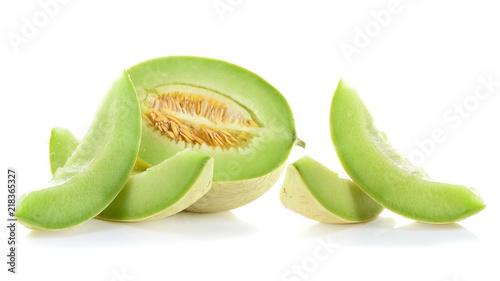 Ripe cantaloupe melon on white background