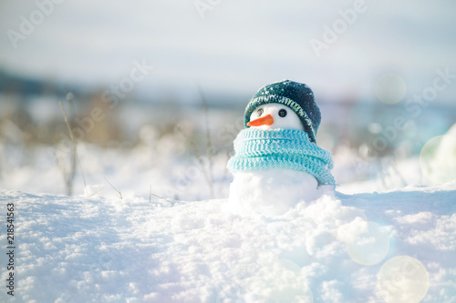 Little snowman in a cap and a scarf on snow in the winter. Christmas card with a lovely snowman, copy space