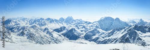 Stampa su Tela Snowy Greater Caucasus ridge with the Mt
