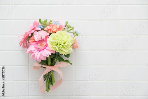 Canvas Print ガーベラとカーネーションの花束