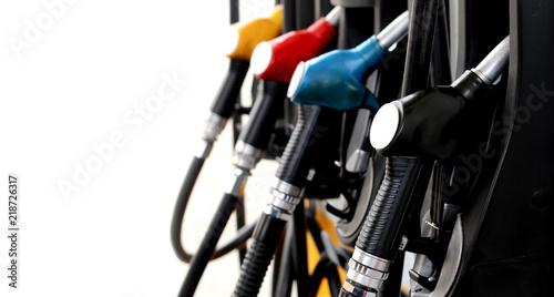 Fotografie, Tablou red green yellow orange color fuel gasoline dispenser  background energy crisis