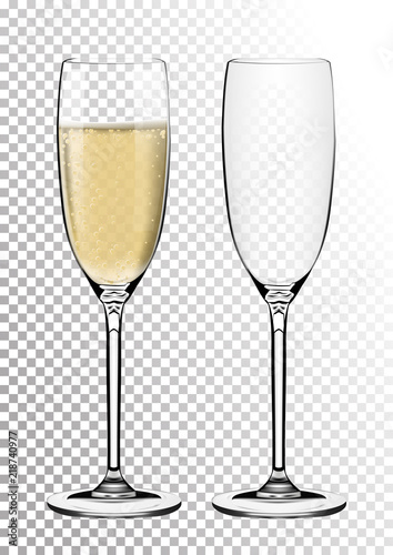Photo Set transparent vector champagne glasses empty, with sparkling wine