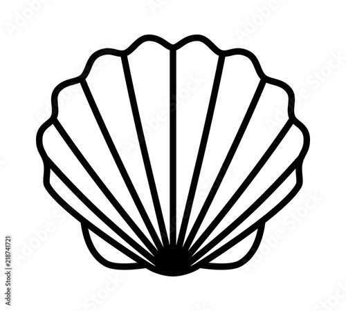 Fotografering Seashell shell / shellfish or seafood line art icon for wildlife apps and websit