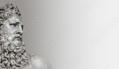 Fotografia Element of statue of Neptune in Rome, isolated at smooth background