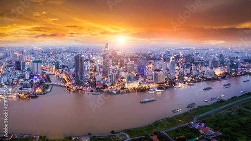 Stampa su Tela Aerial view of Ho Chi Minh City skyline and skyscrapers in center of heart business at Ho Chi Minh City downtown
