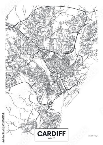 Fotografie, Obraz Vector poster detailed city map Cardiff