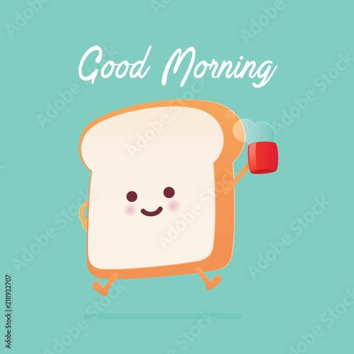 Valokuvatapetti Good morning greeting on toasted bread cartoon against green background