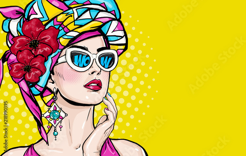 Fototapeta Pop Art woman with wow face in glasses holding hand near her cheeks