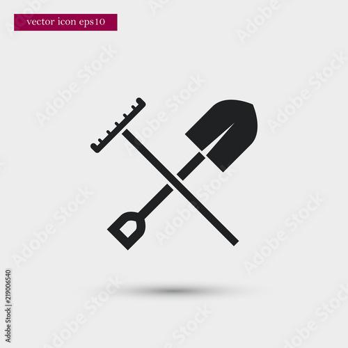 Obraz na płótnie Shovel with rake icon