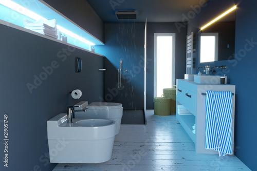 Fotomural Bagno moderno, arredamento completo di sanitari, doccia e supplementi di arredo