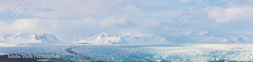 Glaciers and iceberg panorama in jokulsalon lagoon Iceland Fototapeta