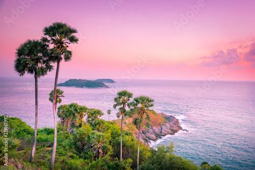 Obraz na płótnie Landscape view point of Laem Phromthep Cape at sunset sky
