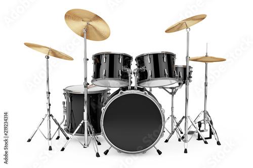 Vászonkép Professional Rock Black Drum Kit. 3d Rendering
