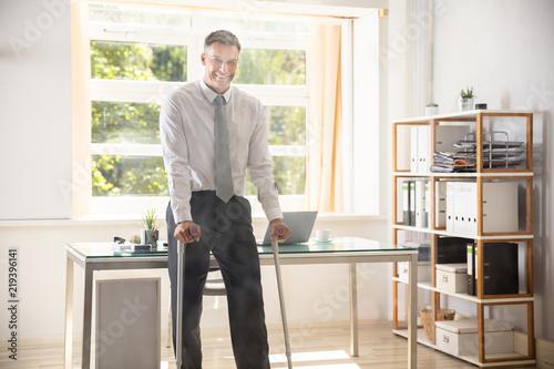 Obraz na płótnie Portrait Of A Happy Disabled Businessman