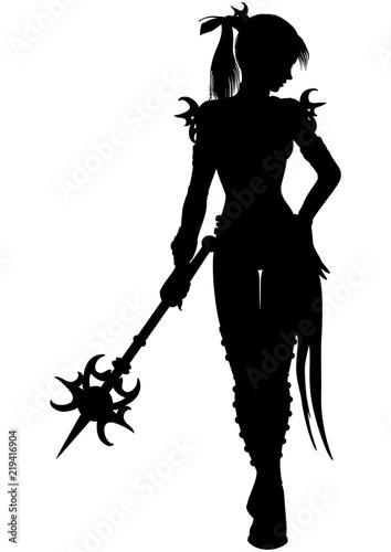 Obraz na plátne Wizard warrior woman silhouette/ Illustration a fantasy woman wizard with a magi