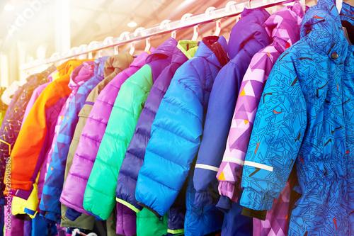 Winter children sports jacket on hanger in store