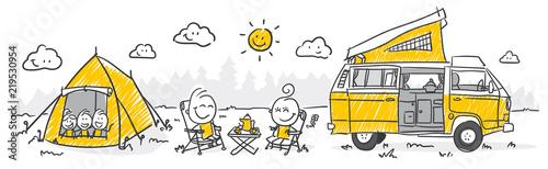 Tela Strichfiguren / Strichmännchen: Camping. (Nr. 282)