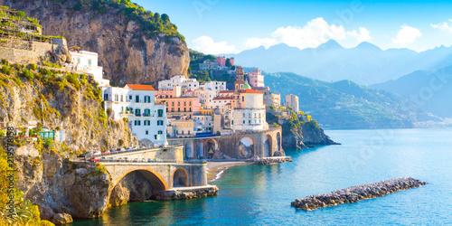 Fotografie, Obraz Morning view of Amalfi cityscape on coast line of mediterranean sea, Italy