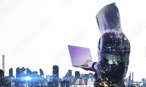 Fotografia Hacking and computing concept