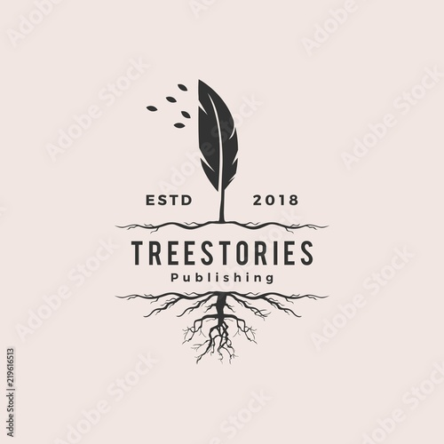 Canvas Print tree quill feather ink root logo vintage retro hipster vector icon illustration