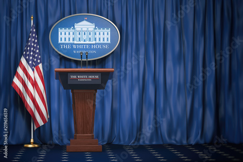 Fotografia Podium speaker tribune with USA flags and sign of White House with space for text