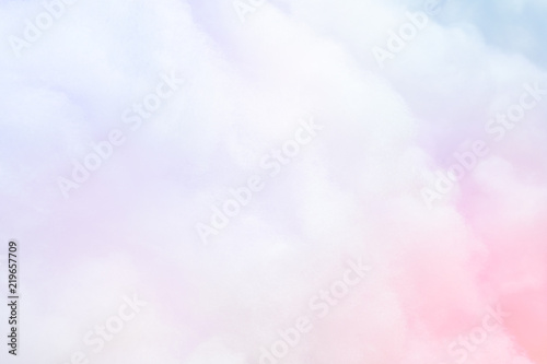Colorful pastel fluffy cotton candy background, soft color sweet candyfloss, abstract blur dessert texture