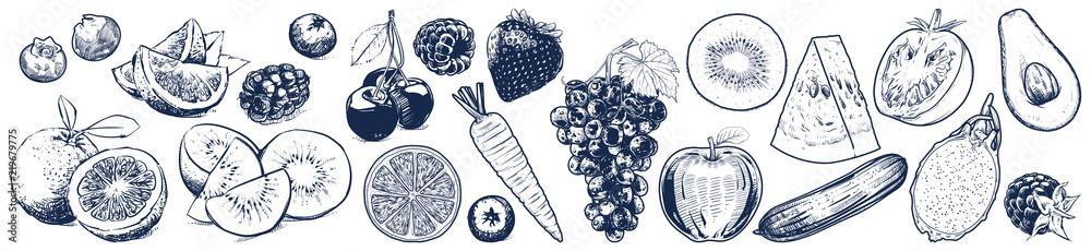 Fruits and vegetables set on white background, Vector Illustration, Sketch outline