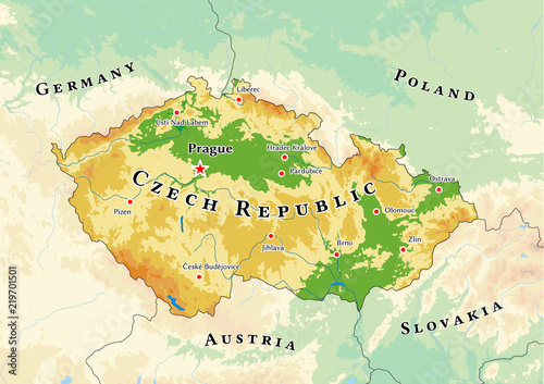 Photo Czech Republic physical map