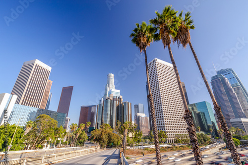 Fotografie, Obraz Los Angeles downtown skyline