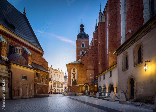 Old city center view with St. Mary's Basilica in Krakow, Poland.  Night view, long exposure.