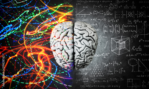 The concept of the human brain. The right creative hemisphere versus the left logical hemisphere. Education, science and medical abstract background.