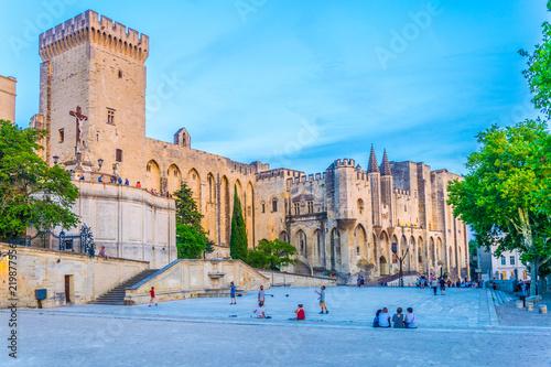 Obraz na plátne Sunset view of Palais de Papes in Avignon, France