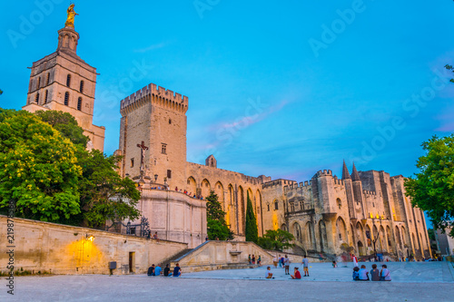 Fotografia, Obraz Sunset view of Palais de Papes and the cathedral in Avignon, France