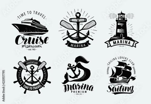 Fotografering Marina, sailing, cruise logo or label
