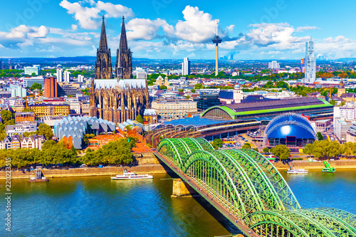 Aerial panorama of Cologne or Koln, Germany