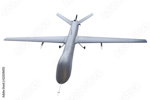 Unmanned military aircraft drone isolated on white background.