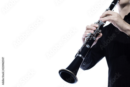 Fotografia Clarinet player hands isolated